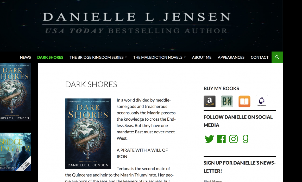 Danielle L Jensen Best Selling Author Website Screenshot